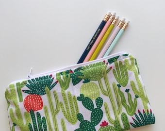 Cactus Zipper Pouch, Pencil Pouch, Zipper Pouch, Pencil Bag, Small Zipper Bag, Cosmetic Bag, Pencil Case