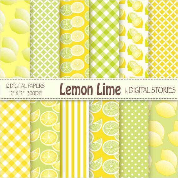 Lemon Digital Paper Lemon Lime Lemon Lime Yellow
