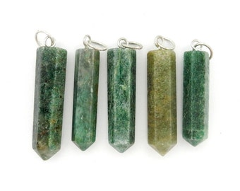 Green Jade Point Pendant with Silver Tone Bail (RK39B2-06)