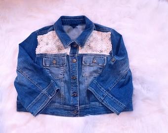 Womens Denim Jacket, Distressed Denim Jacket, Boho Lace Jacket, Spring Jackets for Women, Denim and Lace Mix Jacket, Lace Denim Jacket, Boho