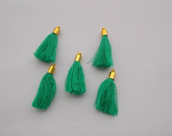 1 set of 5 pom poms charm green Emerald with gold caps