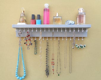 Jewelry Rack - Necklace Holder - Jewelry Organizer  - Wall Mount - 35 Hooks - A Shelf - Many Other Colors Too
