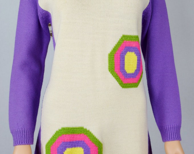 RaRe Vintage 1960's 70's Joyce MoD Space Age NeOn Op ArT gO gO HiPPiE Fringed KniT WooL Sweater MiNi Dress Size M
