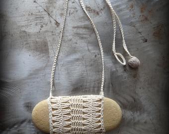 On Sale, Artist Necklace, Crocheted Lace, River Stone, Oblong, Fringe, Handmade, Diamonds, Nature, Tribal, Bohemian, Monicaj