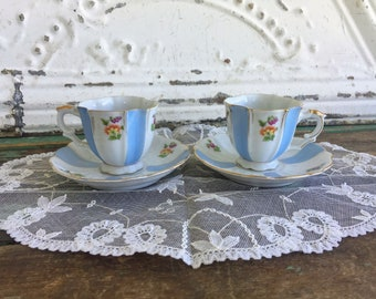Vintage Pair Of Blue White Stripe Floral Demitasse Small teacup and Saucer