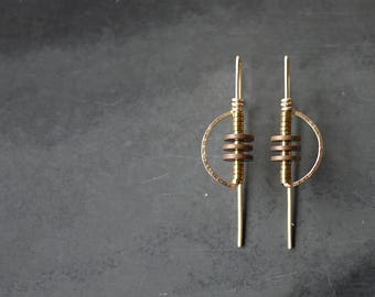 Half Moon Gold Fill or Silver Earrings with Hematite