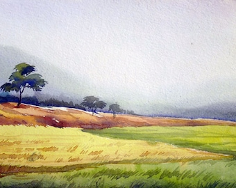 Morning Corn Field - Watercolor Handpainted Painting on Paper