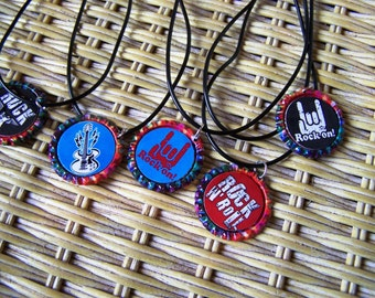 Assorted Rock and Roll Music Boy Girl Teen on Tie Dye Caps Rubber Cords Birthday Party Favor Necklaces 5pk