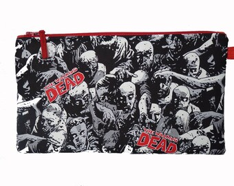 The Walking Dead Zombies Multi Purpose Pouch, Makeup Bag, Gadget Bag, Pencil Case, Small Craft Project, Handmade in the UK