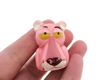 Rare American Pink Panther Figure Thimble- 1970's - 1980's Ceramic Kitsch Collectible- Kawaii Ornament