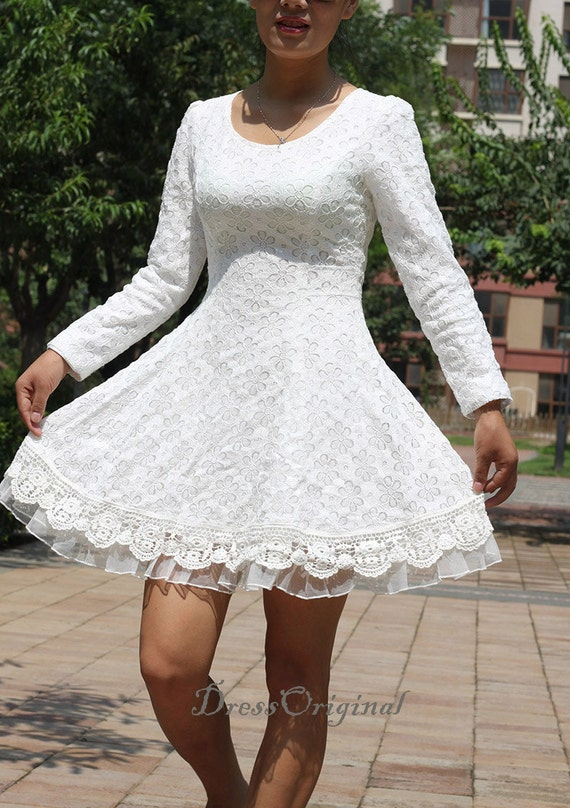 Weisse Spitzen Kleid weiß Mini Kleid / langärmlige Weiße