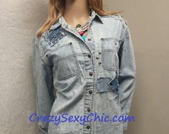 Upcycled Denim Shirt Women's size Petite Medium Patched Studded