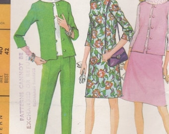 ON SALE 1960's Sewing Pattern - McCalls 8756 Jacket, Vest, Dress, Blouse, Skirt, Pants  Size 40 Uncut, Factory Folded.