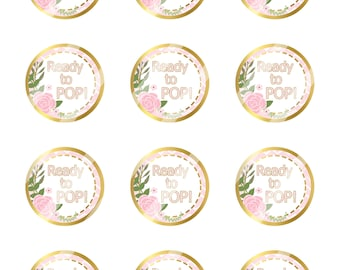 INSTANT DOWNLOAD/ Ready to POP Baby Girl/Pink, White & Gold/Digital Cupcake Topper Image Sheet/2 Inch Circles /8.5x11 Collage Sheet/ # CT171
