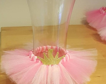 VASE TUTU Princess Party Decoration Centerpiece Crown Birthday Wedding Pink Baby  Shower Bridal Wine Bottle 16