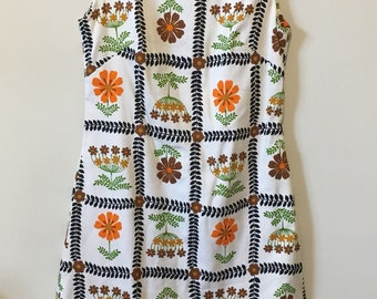 VTG 60's Haymaker Retro Floral Shift Dress, Sz 12