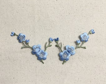 Cherry Blossom - Blue Flowers - Green Stem - LEFT or RIGHT - Iron on Applique - Embroidered Patch - 611517