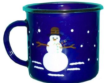 1997 lapin doré II petit bonhomme de neige tasse métal émaillé