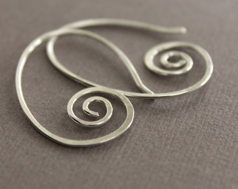 Simple swirly oval hoop sterling silver earrings - Hoop earrings - Minimalis earrings - Threader earrings - Oval hoop earrings - ER018