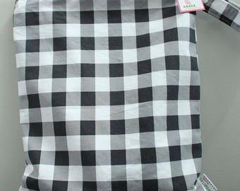 wetbag Wet bag ICKY Bag XL black plaid check PETUNIAS diaper bag cloth diapers sack large wet proof zipper handle gym bag travel swim pool