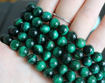 green tiger eye, 8mm beads, round beads, glossy beads, green, gemstone beads, sold as 1 strand, approx. 48 beads,