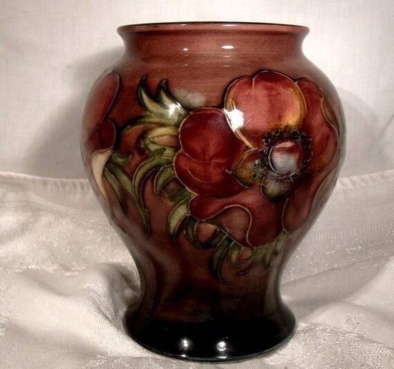Moorcroft Flambe Anemone Vase 1947 1953 English Art Pottery