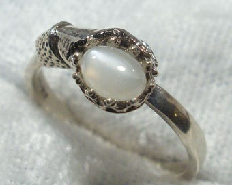 Moonstone Art Nouveau Style Ladies Gloved Hand ring, Hand Crafted recycled sterling silver, June birthstone, handmade, Cancer Libra Scorpio