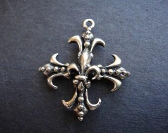 solid bronze cross with fleur de lis, cross with fleur de lis