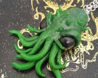 Green Cthulhu Polymer Clay Necklace