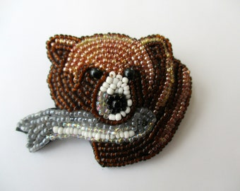 Vintage  Beaded Pin Brooch. Brown Bear with Fish. Woodland Forest.  Unique gift under 20. New old stock