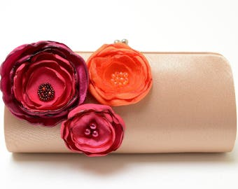 SALE READY To SHIP Bridesmaid Clutch Bridal Clutch ~Dark Champagne Clutch ~ Pink Fuchsia Magenta Orange Bouquet Flower Clutch