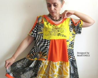 L/XLPop Art Top Patchwork Top Plus Size Tunic Upcycled Clothing Oversize Top Bohemia Clothing Size Large XL Mori Girl Top Bohemian Chic Top