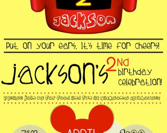 Personalized Mickey Mouse Clubhouse Theme Birthday Invitation - *Digital Documents*