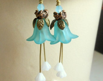 Frosted Blue Tulip Earrings-Princess Earrings-Long Dangle Earrings