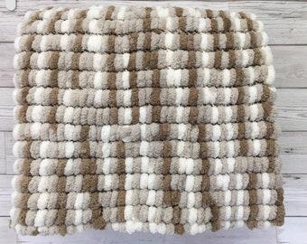Hand Knitted-Pom Pom Blanket-Brown-Beige-Cream-Super soft Polyester Yarn