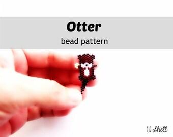Brick Stitch Pattern, Otter with SeaShell, Miyuki Delica Beads