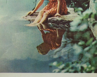 Soviet Vintage Postcard/March 8 Celebration/Collectible Cards/International Women's Day /Little Girl/Water Reflection/1960's/Rare Postcard/
