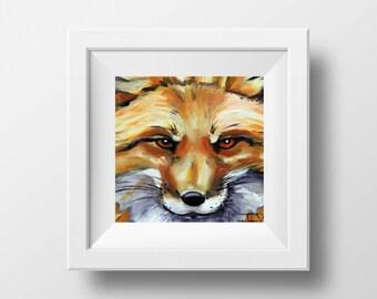 Fox Art Print, Animal Decor, 8x8, 10x10, 12x12  Signed Fine Art  Print, Modern Home Original Artwork by San Francisco Artist Lisa Elley