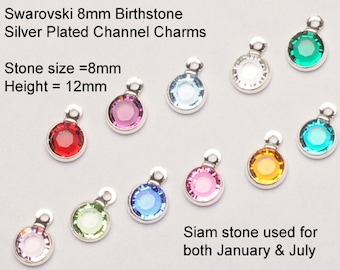 5  (New Larger 8mm Stone) Swarovski Birthstone Channel Charms Silver Plated - Choose your COLOR   CC8S-XXXX05 swarovski birthstones