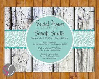 Teal Blue Elegant Rustic Country Bridal Shower Invitation Wood Design Invite 5x7 Printable JPEG Invite (PI-47)