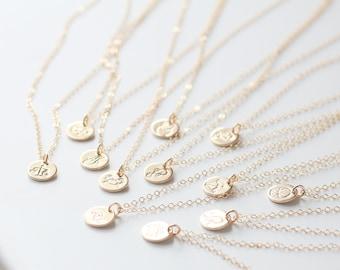 Aquarius Necklace, Zodiac Necklace, Gold Aquarius Necklace, Zodiac Jewelry, February Birthday Gift, Aquarius Sign, Dainty, Small Charm