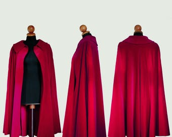 "Lovely cape Cloak hood in red velvet red velvet end of the years ' 70 signed brand ""Zingo Roma"""