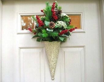Winter Wreath, Holiday Berry Wreath, Pine Door Wreath, Red Green Wreath, Winter Wreaths, Winter Door Decoration, Christmas Door Hanger