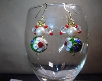 Unique Cloisonne Earrings, Beaded Earrings, Colourful Earrings