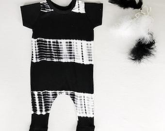 Baby romper, baby boy romper-black and white onesie-tie dye baby- baby boy outfit- baby boy bodysuit-boy romper-black and white tie dye