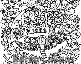 Hobbit Hill, 1 Adult Coloring Book Page, Printable Instant Download