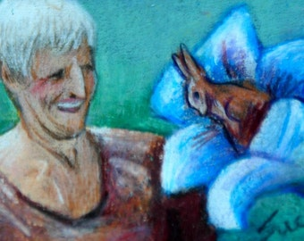 original art aceo drawing  grandmas chocolate bunny lily garden