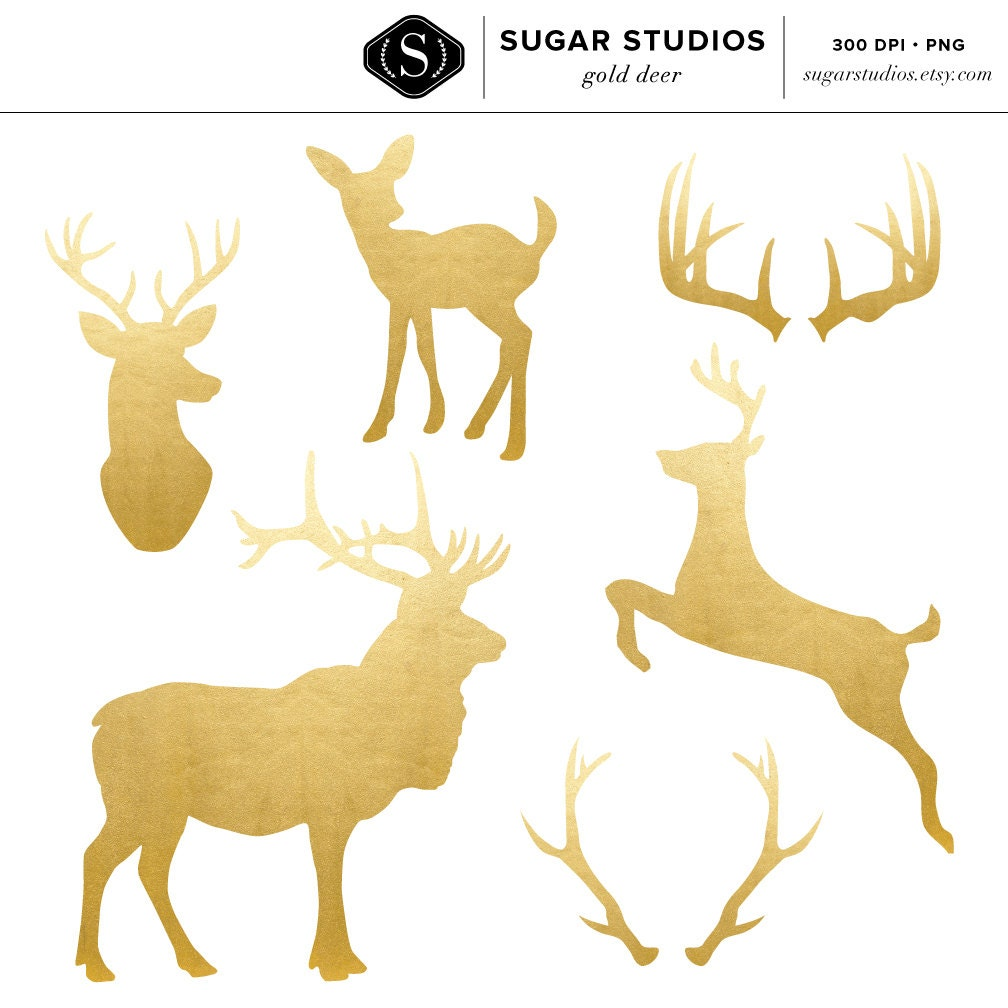 High Quality Gold Foil Deer and Antler Clip Art 6 Pieces