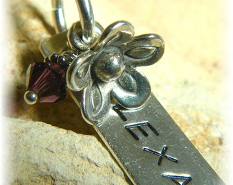 Personalized Hand-Stamped Sterling Silver Necklace- With Flower- ONE Name- Mothers and Grandmothers Swarovski or Birthstone- Handmade
