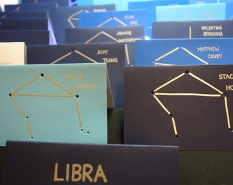 LIBRA, the SCALES September 24 - October 23 Birthday Shadow Zodiac Constellations Line Drawing Hand Embossed & Hammered Greeting Art Card